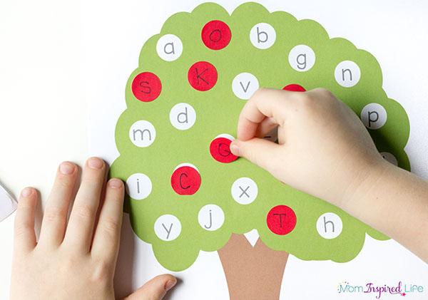 This apple tree fine motor alphabet activity.