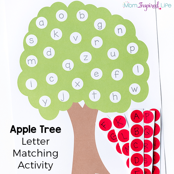 letter matching apple tree activity with printable. Black Bedroom Furniture Sets. Home Design Ideas