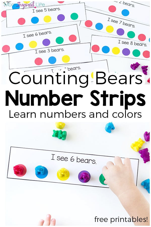 Counting Bear Number Strips and Color Matching Activity