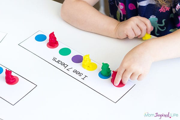 Learning numbers and counting with a fun bear-themed math activity for preschool!