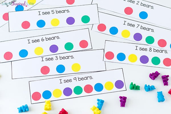 Counting cards that you can use with counting bears or other math manipulatives.