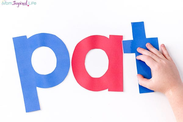 Spell words with large printable letters.