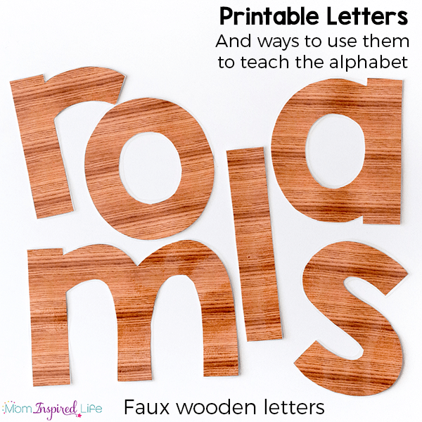 Printable alphabet letters that look like they are wooden. There are so many ways to use them to teach the alphabet to kids.