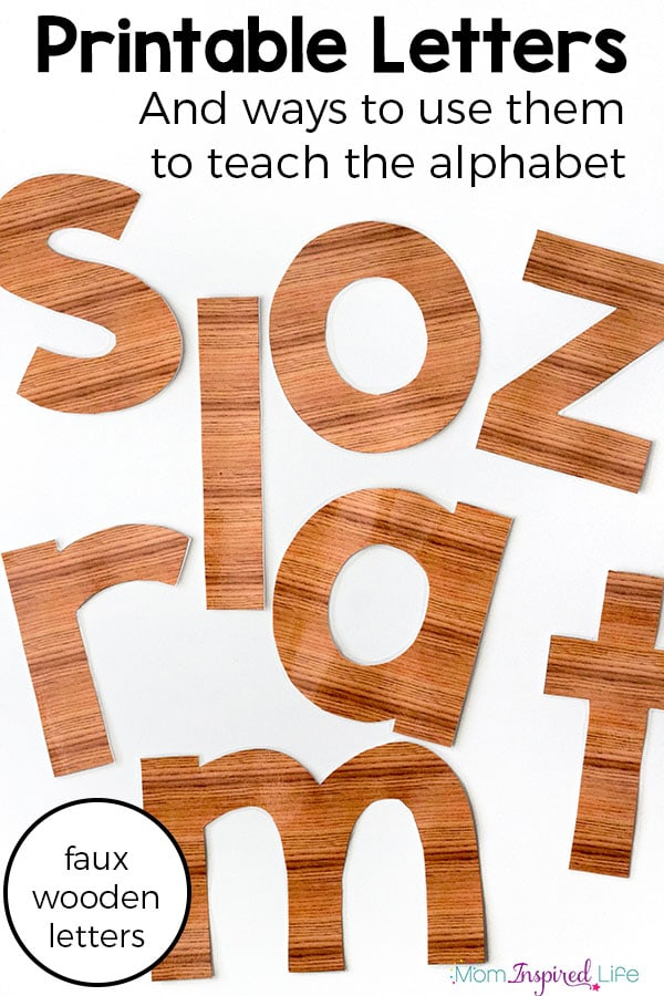 Printable alphabet letters and ways to use them to teach the alphabet to preschool and kindergarten students. Large faux wood letters to use for alphabet activities.