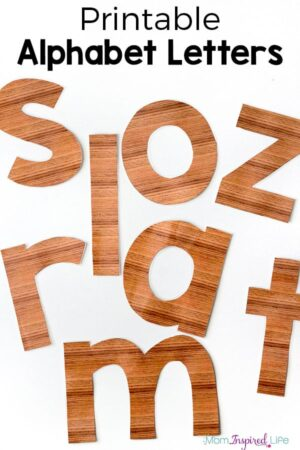 Large printable letters that look wooden.