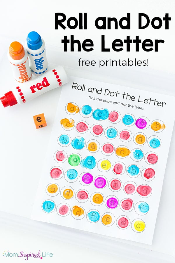 Teach letters and letter sounds with this roll and dot the letter alphabet activity and free alphabet printable! It is a great way for preschoolers and kindergarten students to learn the alphabet!