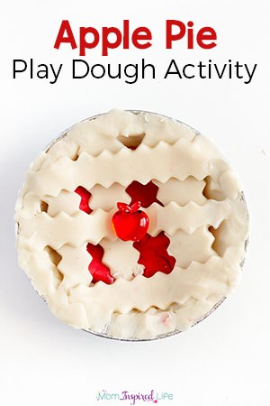 This apple pie play dough activity is perfect for fall and a great way to develop fine motor skills!