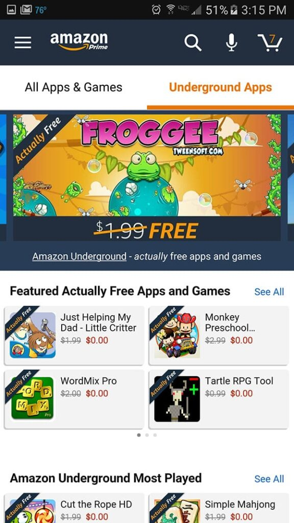 Amazon Underground actually free apps for kids.