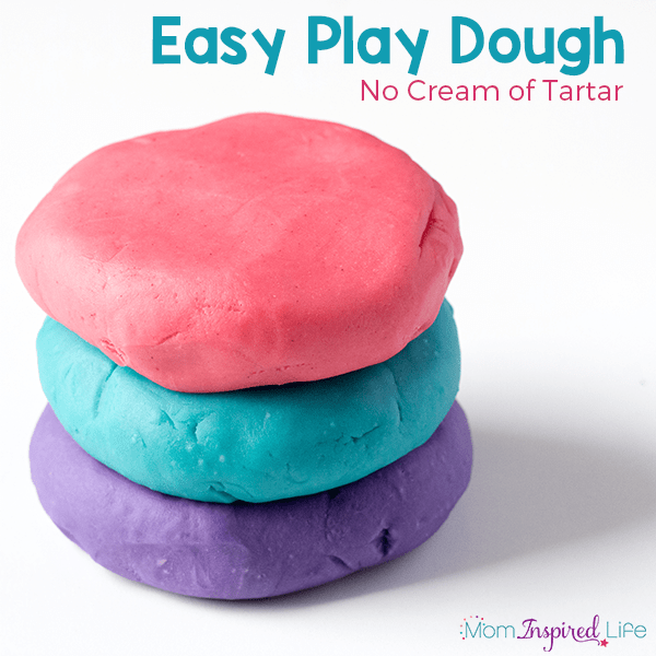 This easy play dough recipe uses no cream of tartar. Whip up scented play dough in just 5 minutes!