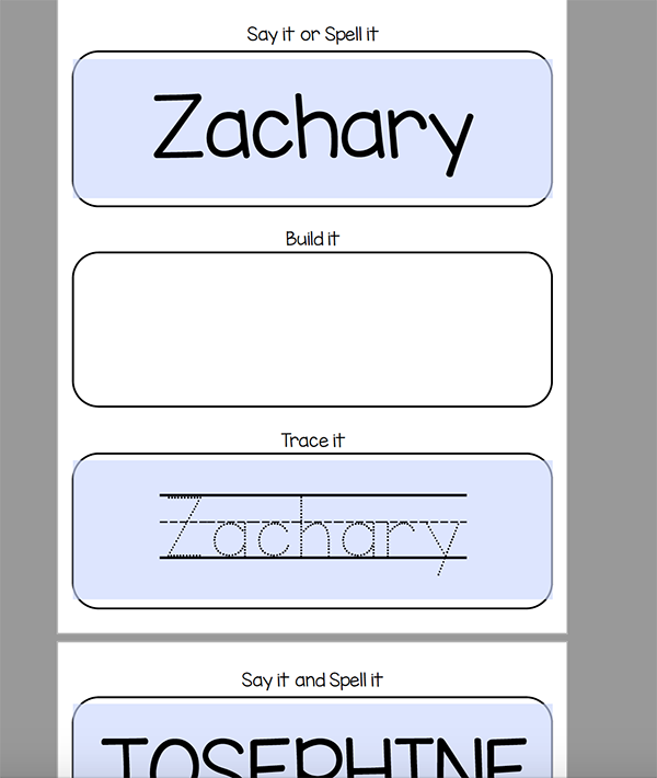 Free Kindergarten Name Worksheets