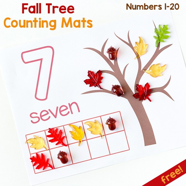 Fall tree counting mats for learning numbers 1-20. Perfect for fall math centers!