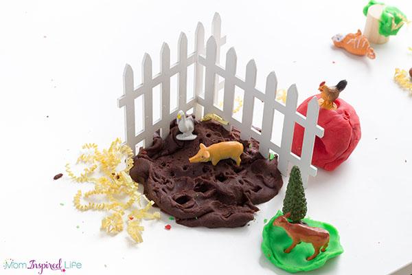Muddy play dough activity for farm theme.