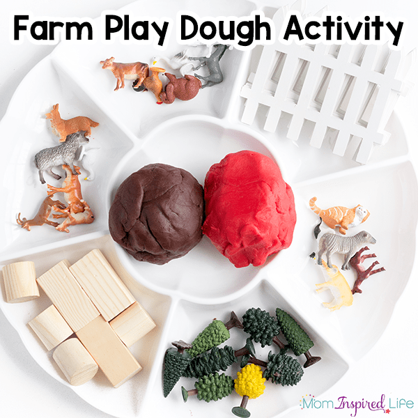 Farm play dough activity. A fun sensory activity for farm theme lesson plans.