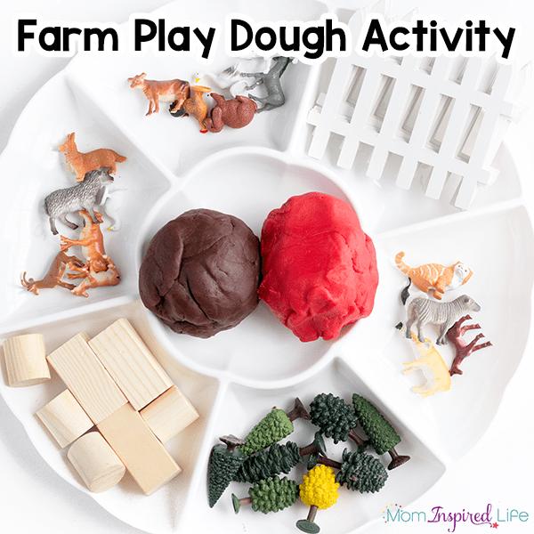 Farm play dough activity. A fun sensory activity for farm theme lesson plans.