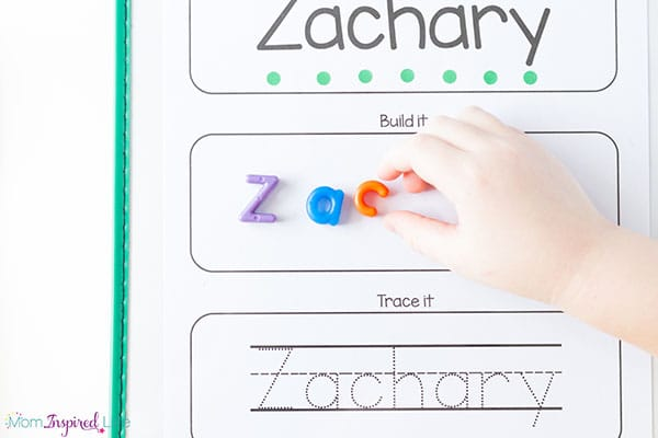 Hands-on name building activity for preschool and pre-k.