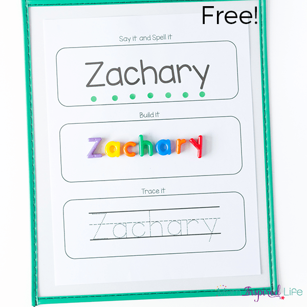 Editable name spelling and tracing printables for Name templates for preschool