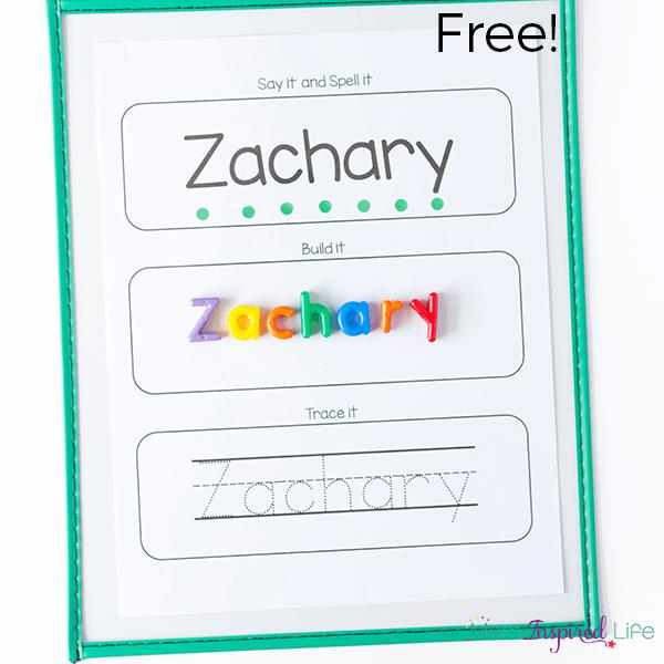 Free printable worksheets tracing names