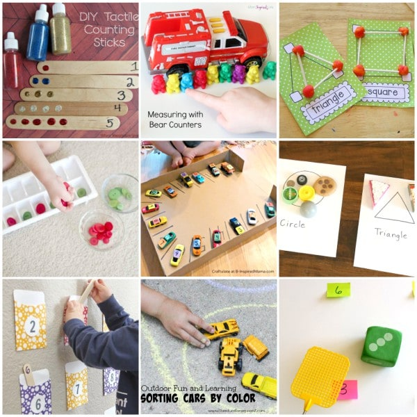 Math activities for preschool math centers.