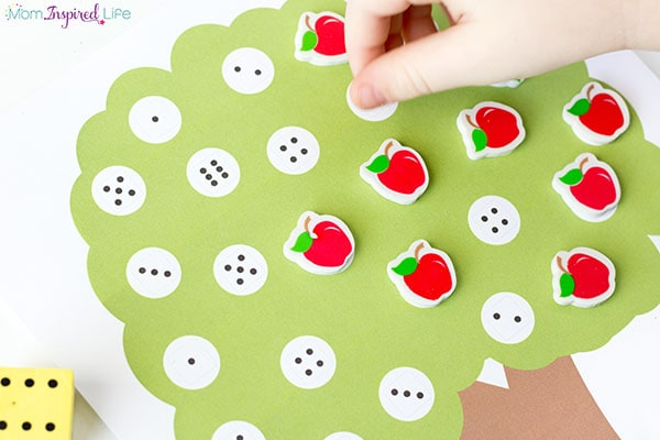 Apple tree preschool math game. A fun fall math activity for kids.