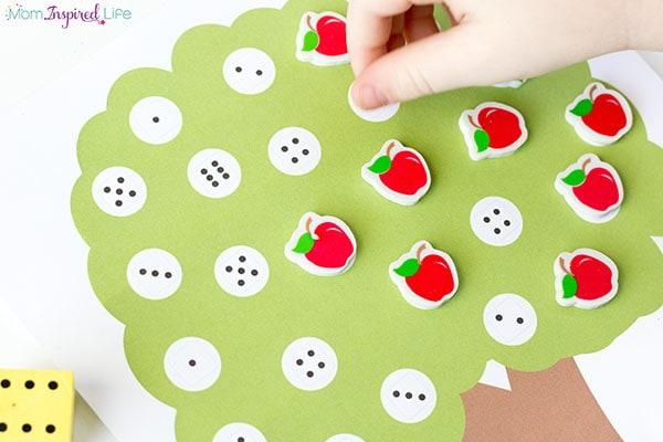 Apple tree preschool math game. A fun fall math activity for kids.