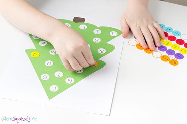 A hands-on holiday themed alphabet activity.