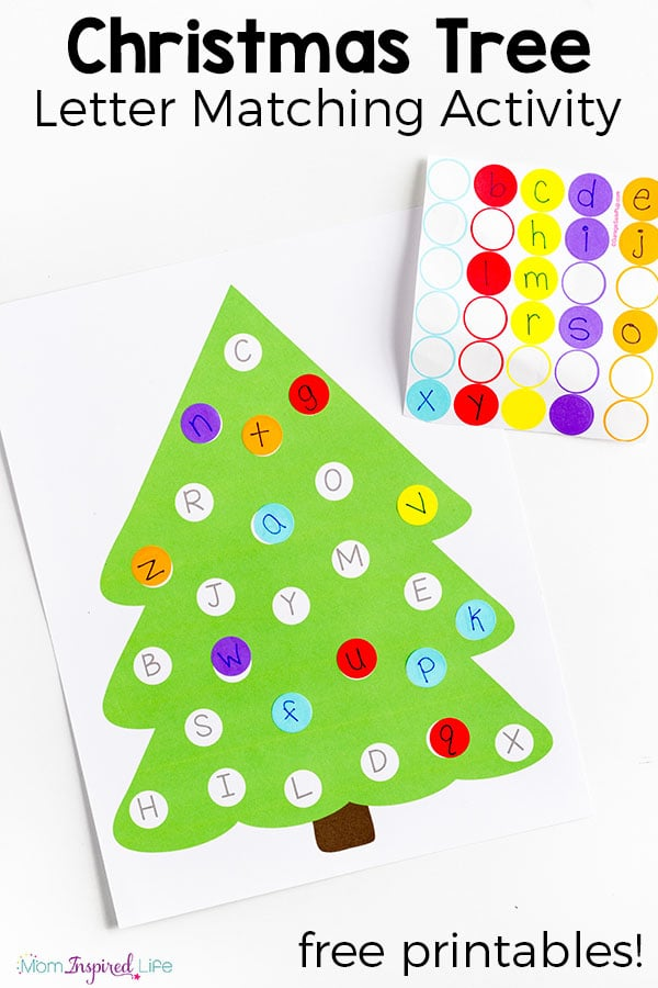 photograph about Free Printable Christmas Tree identified as Xmas Tree Letter Matching Sport with Absolutely free Printable
