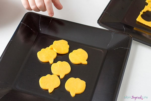 Cheese pumpkins are a yummy Halloween snack!