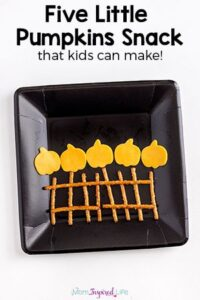 A Five Little Pumpkins snack idea that kids can make! My kids loved this Halloween snack!