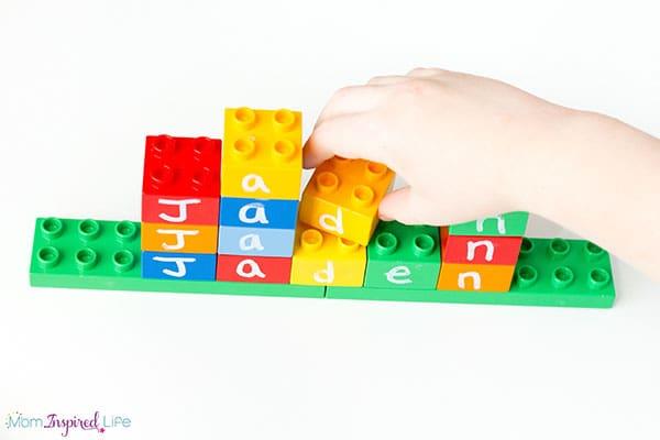 Teaching kids their name is super fun when you use LEGO bricks!