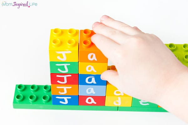 Teaching kids to spell their name with LEGO.