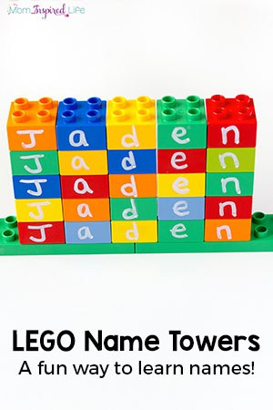 LEGO Name Towers Activity for Preschoolers