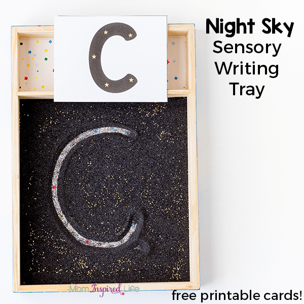 This night sky writing tray is a fun way for kids to practice writing letters and numbers.