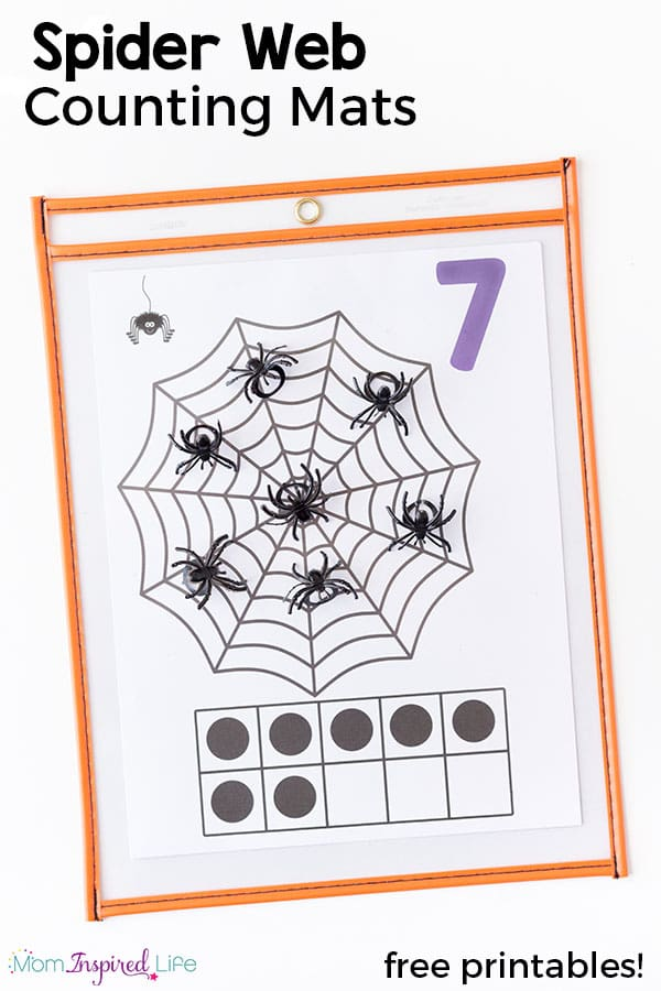 These spider web counting mats are so much fun and great way to teach counting this fall! Add them to your math centers or just use them with your kids at home.