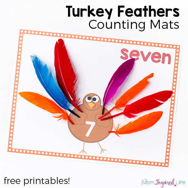 Turkey feathers counting mats for Thanksgiving. Practice counting, adding and subtracting with this fun Thanksgiving math activity.