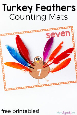 urkey feathers counting mats for Thanksgiving. Practice counting, adding and subtracting with this fun Thanksgiving math activity.