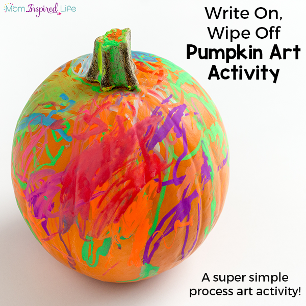 Write and wipe pumpkin process art activity for fall.