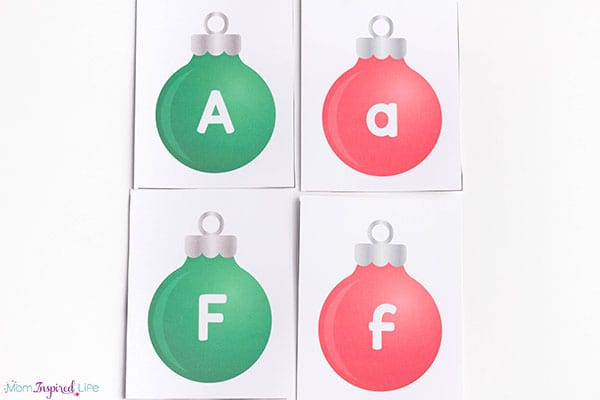 Christmas ornament letter matching cards.