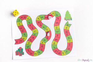 Printable Christmas board game for learning letters, numbers, sight words and more!