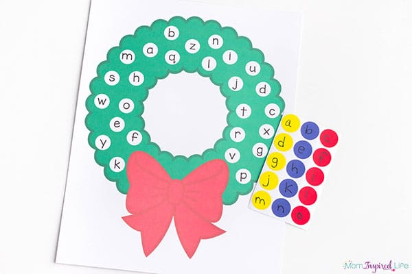 Christmas wreath letter matching activity.