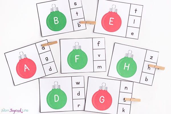 Christmas alphabet clip cards