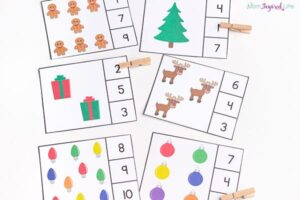 Christmas counting clip cards.