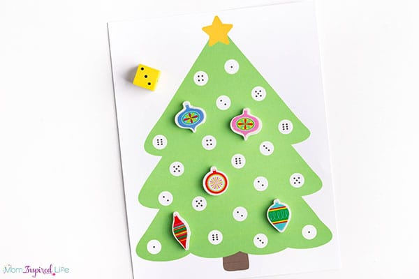 Roll and cover Christmas math game.
