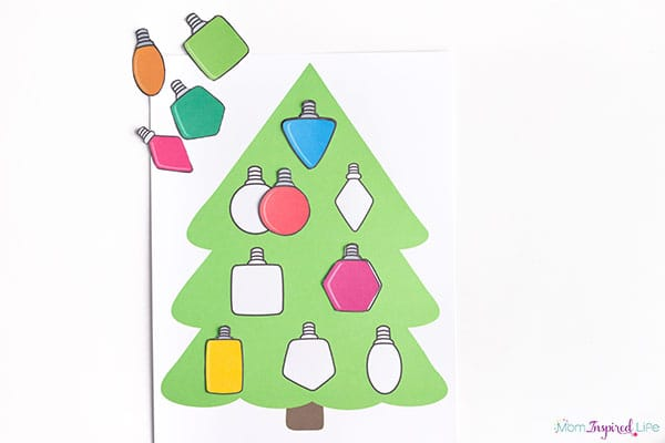 christmas ornaments shape puzzle for toddlers and preschoolers - Preschool Christmas Printables