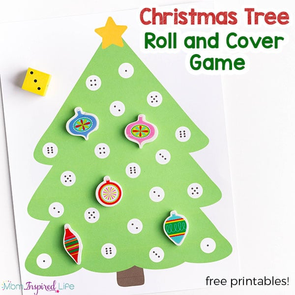 Free Worksheets preschool christmas math activities : Christmas Tree Math Activity - A Roll and Cover Game