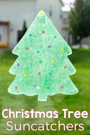 Christmas Tree Suncatcher Art Activity for Preschoolers