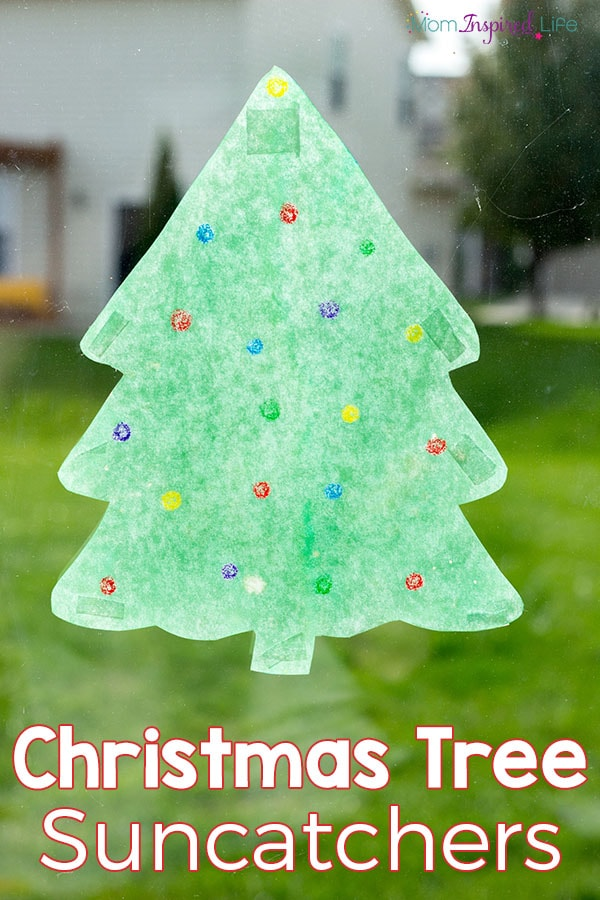 Christmas tree suncatcher art activity for STEAM learning. An fun Christmas craft.