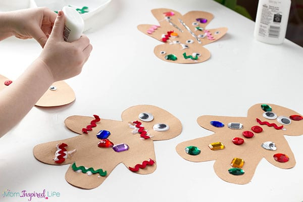 Gingerbread collage art for kids.