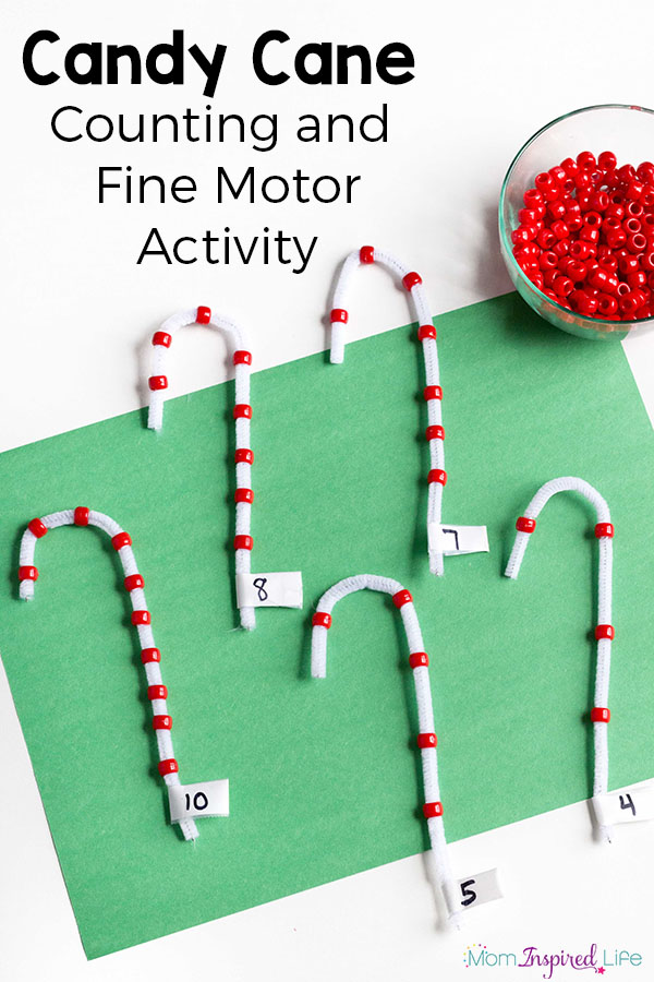 Candy Cane Counting Activity with Beads