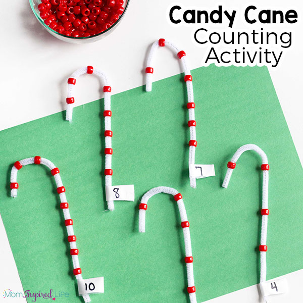 Candy cane fine motor counting activity for preschoolers. A Christmas learning activity for kids.