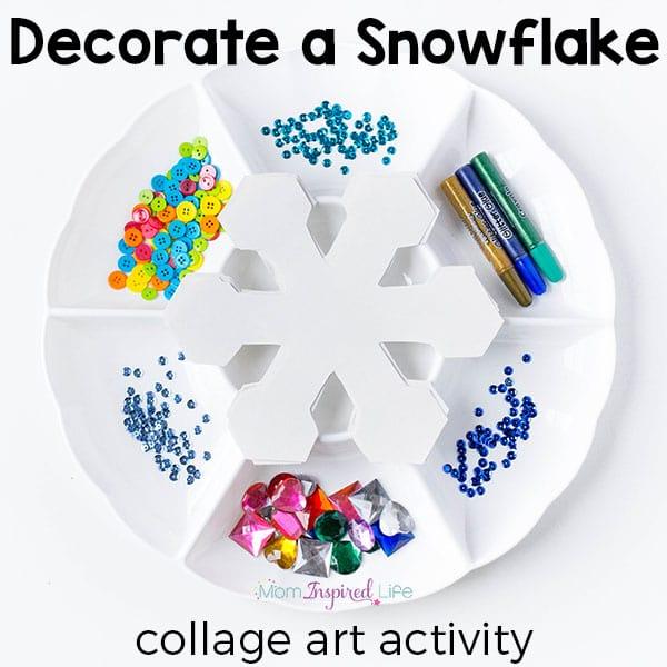 A fun winter craft activity for kids. A fun snowflake process art activity.